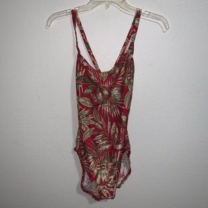 Catalina Swimsuit One Piece Ribbed Tropical NWT 1X